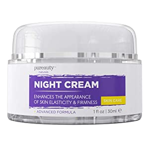 Night Cream for Face and Neck, Anti Aging Cream and Night Moisturizer for Women and Men, Help Reduce The Appearance of Wrinkles, Fine Lines - Night Face Cream for Anti-Aging - Pureauty Naturals - 30ml