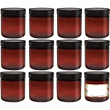 ljdeals 8oz Amber PET Plastic Jars with Lids, Refillable Empty Round Containers, Pack of 12, BPA Free, Made in USA,12…