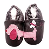 FREE FISHER Baby Girls Boys Shoes Toddler Soft Sole Prewalker First Walker Crib Shoes Baby Moccasins, Puppy, 12-18 Months