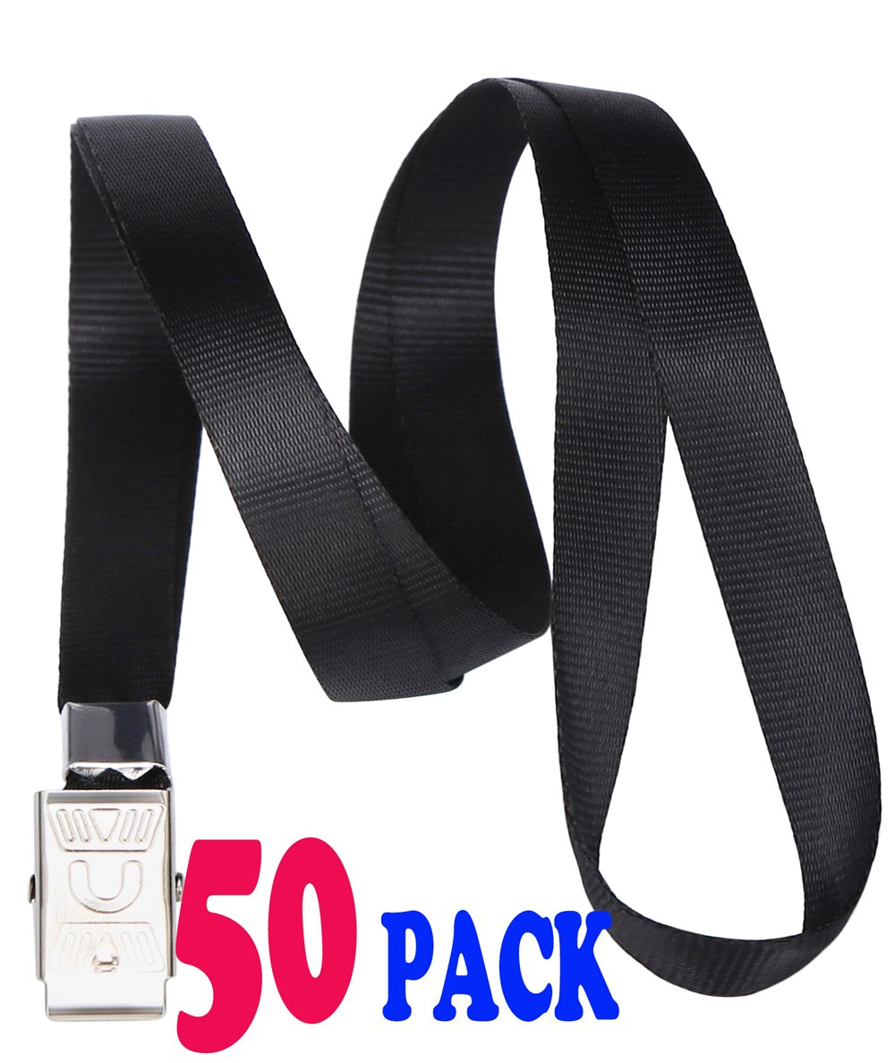 Black Lanyards Bulk Safety Flat Lanyard with Badge Clip Neck Lanyards for id Cards/Badges Key Chain by ACCBTECH - 50 PCS 33-inch