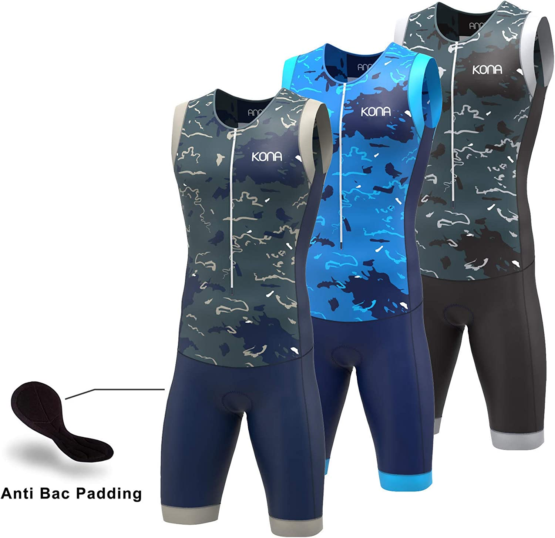 Speedsuit Skinsuit Trisuit Sleeveless One-Piece Vest and Short Combo Full Zip with Rear Pockets KONA Assault Triathlon Race Suit