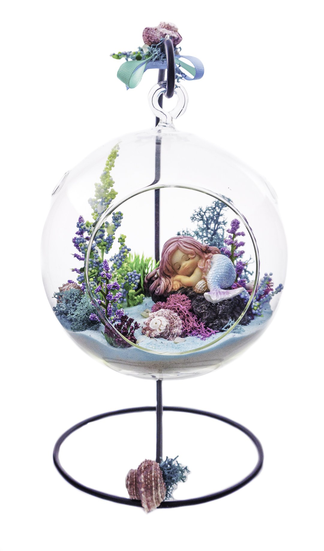"Terrarium Kit | Rockin' Mermaid | Mermaid Series | Complete Terrarium Gift Set with Stand | 6"" Glass Globe Terrarium Container 