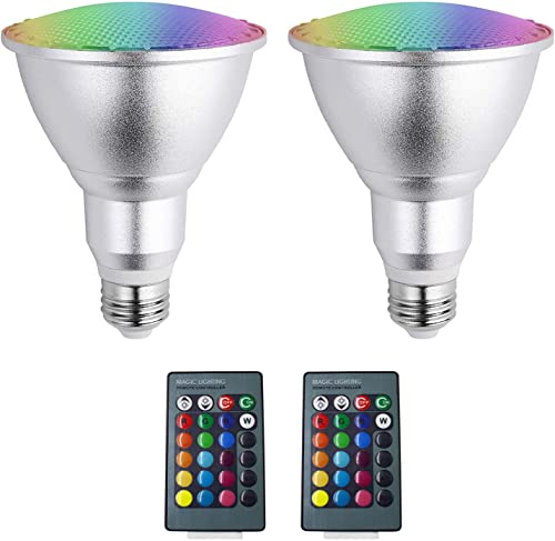 Par20 LED RGB, 10W Outdoor Flood Light E26 E27 Spotlight Waterproof IP65 LED 16 Color Changing Bulb with IR Remote for Home, Living Room, Party Decoration Waterproof Outdoor Indoor Floodlight, 2PCS