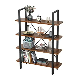 GreenForest Bookcase 4 Shelf Industrial Wood and Metal Bookshelf Open Wide Etagere for Home and Office 41.3 inch x 11.3 inch x 55.1 inch Walnut