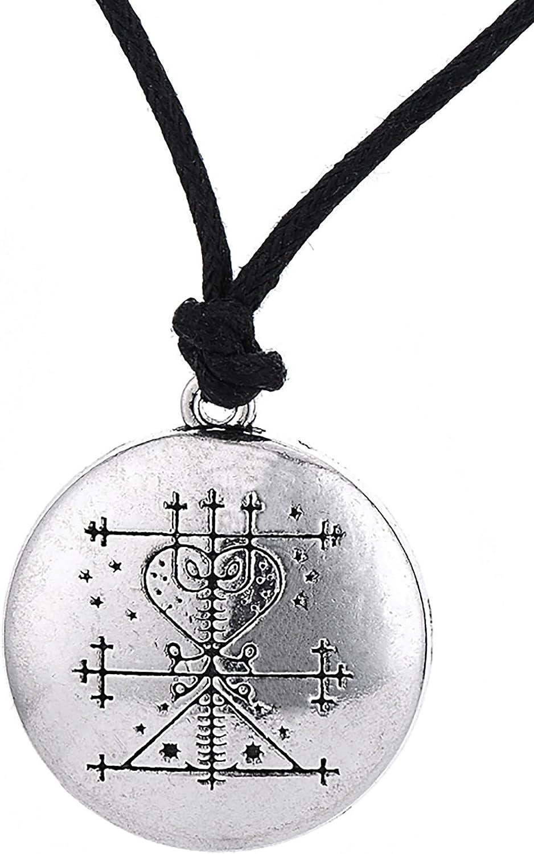 Dawapara - Collar con colgante de amuleto gótico vintage Maman Brigitte Voodoo Loa Veve para mujer