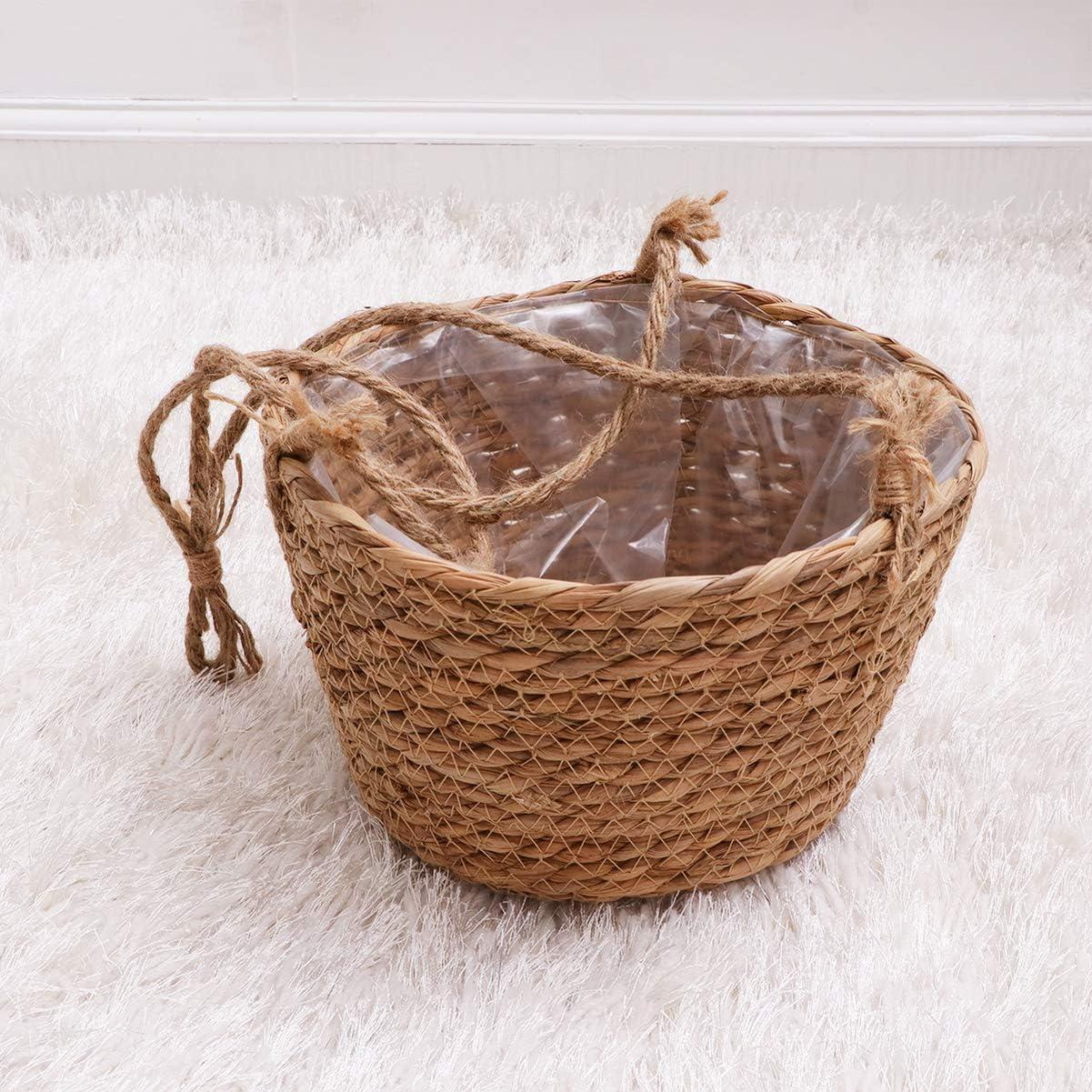 Vosarea Cesto di Fiori Intrecciati Paglia portafiori da Appendere Porta Piante succulente Porta Fiori in Vaso per Giardino di casa