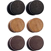 Wood Wooden Vintage Round Circle Fake Cheater Plug Tunnel Unisex Stainless Steel Stud Earrings Set