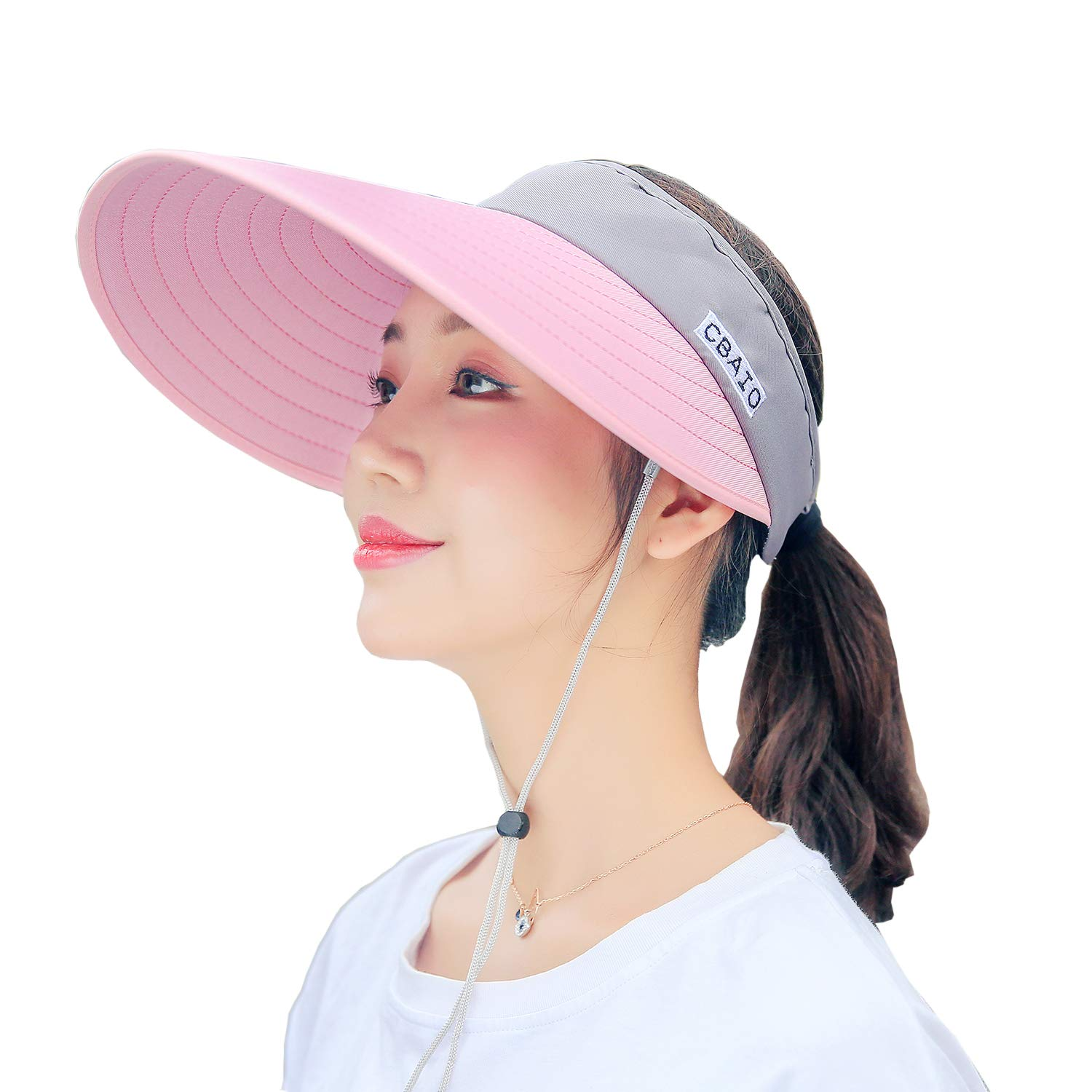 Pink Grey FADA Sun Hats Women Wide Brim Visor UV Predection Packable Summer Beach Caps