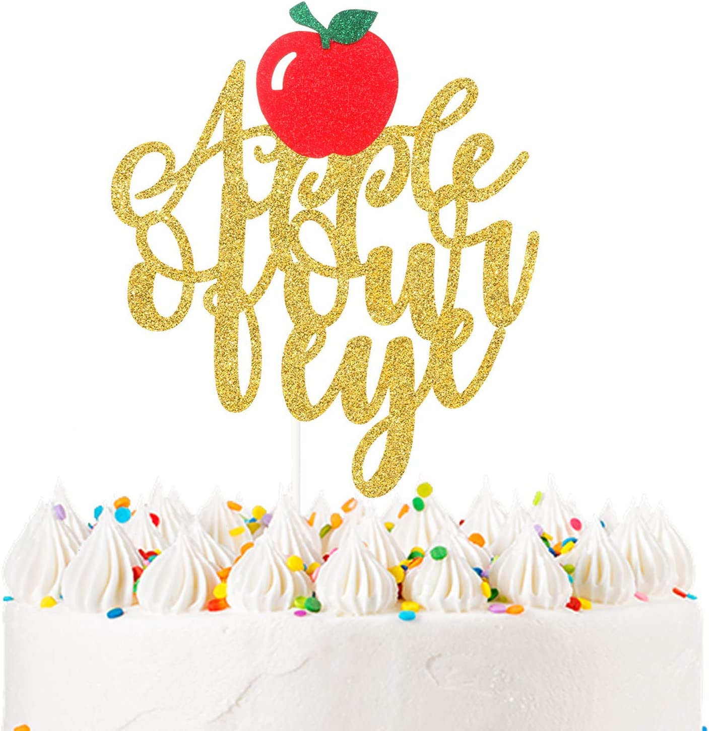 Glitter An Apple of Our Eye Cake Topper Baby Girls Boys First Birthday Cake Decor, Fruits Theme Baby Shower Pregnancy Announcement Decoration Summer Party Supplies
