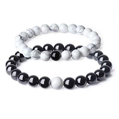 5459b941ee COAI Long Distance Relationship Tourmaline Howlite Stones Couples Bracelets