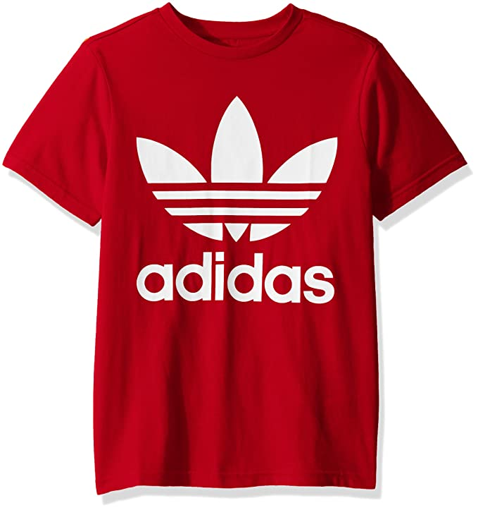 adidas Originals Little Kids Trefoil Tee, Scarlet/White, Medium