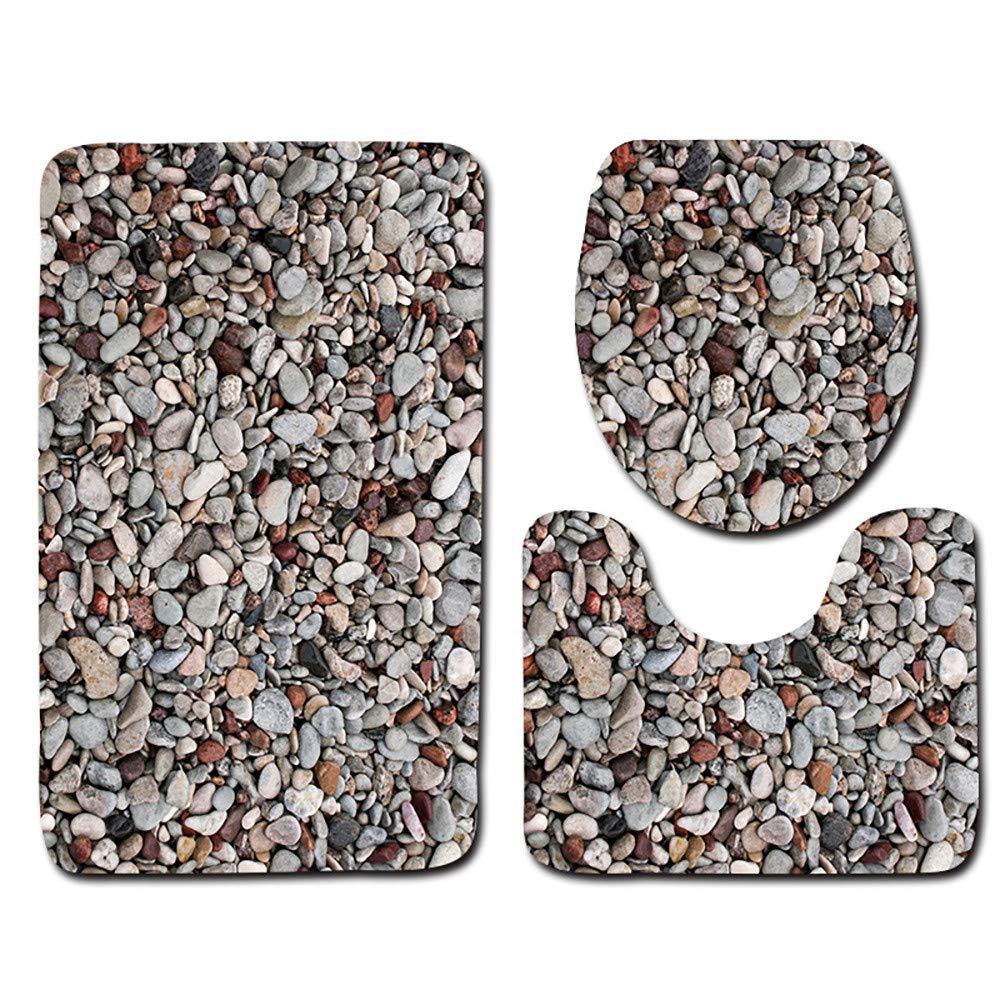 3Pcs Carpet Set Bathroom 3D Stone Printing Non-Slip Bath Mat Bathroom Doormats Decor Toilet Seat Tank Cover Rug H 45x75cm by DIAGE