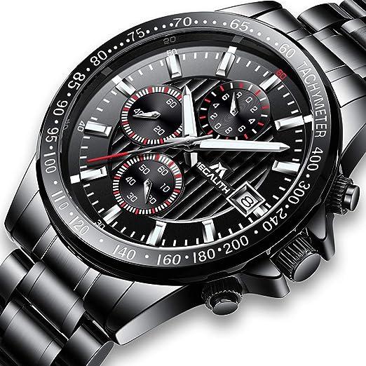 Relojes de Hombre Reloje Grandes de Pulsera MilitaryCronógrafo Impermeable Negro Acero Inoxidable Reloj para Hombres Calendario Lujo Diseño Analógico: ...