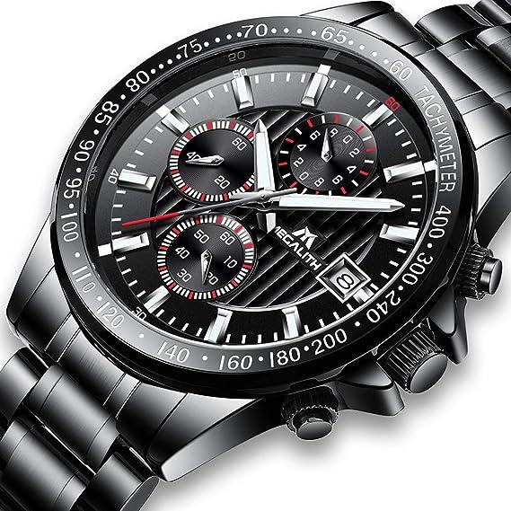Relojes de Hombre Reloje Grandes de Pulsera MilitaryCronógrafo Impermeable Negro Acero Inoxidable Reloj para Hombres Calendario