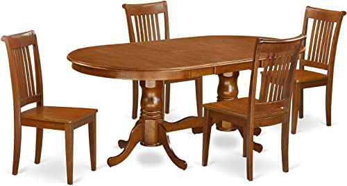 PLPO5-SBR-W 5 Pc Dining room set-Dining Table and 4 Dining Chairs