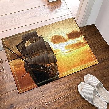 Holz Fußmatte Badezimmer | Cdhbh Schiff Decor Eine Holz Schiff Mit Grosse Segel Unter