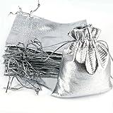 ECYC® 100pcs Sacchetti Di Organza Di Stoffa Di Stoffa Metallizzata Argento Regali Sacchetti Di Imballaggio Di Caramelle Artigianali 9x12 Cm
