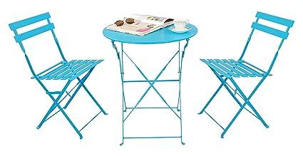 Magna Homewares Bistro Metal Folding Outdoor, Indoor Table & Chairs Set (Turquoise)