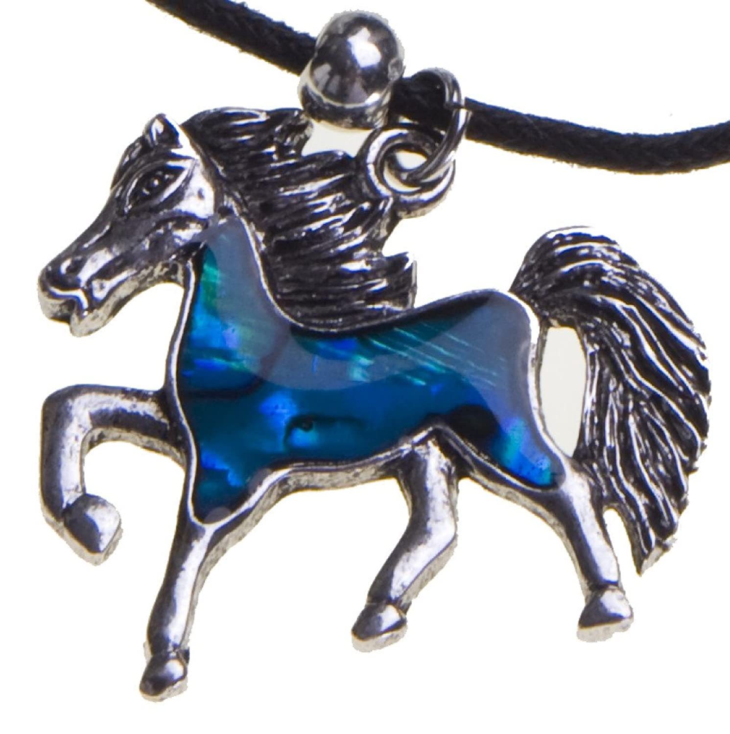 Blue Abalone Shell Horse Pendant Necklace Black Cord Chain Christmas Birthday Gift Jewelry