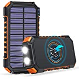 ADDTOP Solar Charger 26800mAh, Solar Power Bank with 4 Outputs & 2 LED Flashlights, Qi Wireless Backup Battery, Portable Sola