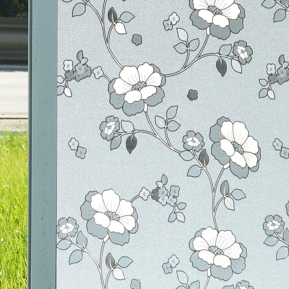 QTQHOME 3D Non Adesivo Frosted Finestra Sticker, Privacy Statici Opaco Decorazione Fiori Bicchiere Pellicole per vetri Domestico Bagno Soggiorno Ufficio Camera-A 30x200cm(12x79inch) ISLDABCA