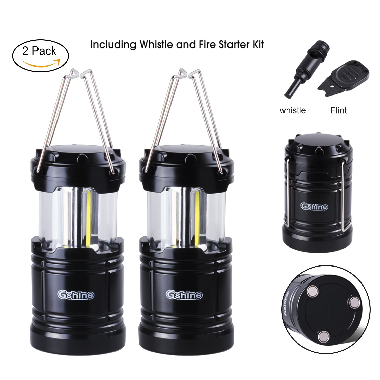 Gshine Camping Lantern, LED Lantern Lights with Magnetic Base 2 Pack Portable Camping Gear COB Water Resistant Survival Kit for Emergency, Whistle and Fire Starter Kit Included (Black - Pack of 2)