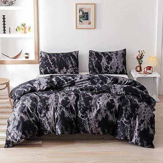 Amazon.com: Smoofy Queen Comforter Set, Black Marble Pattern