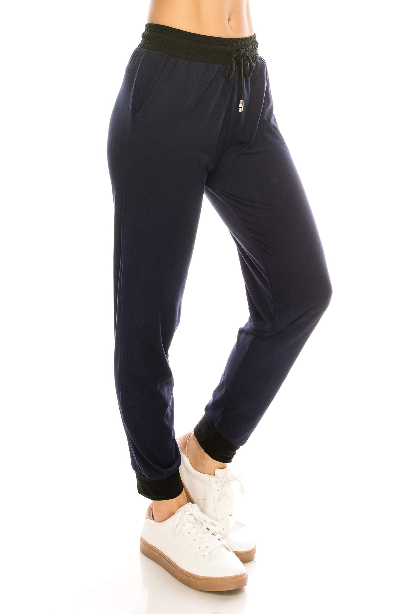 ALWAYS Women Drawstrings Jogger Pants - Skinny Solid Basic Soft Stretch Pockets Sweatpants Navy L/XL