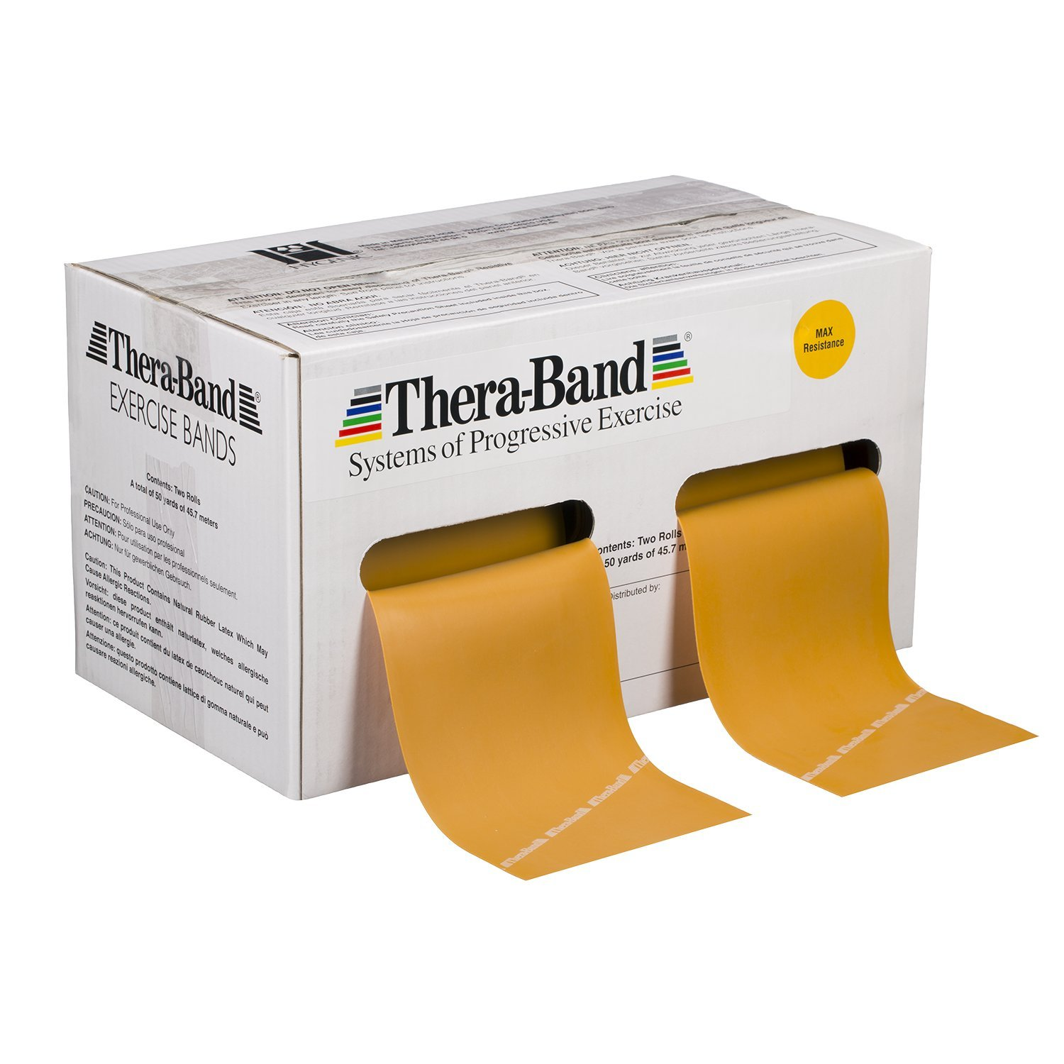 TheraBand Professional Latex Resistance Bands For Upper Body, Lower Body, and Core Exercise, Physical Therapy, Lower Pilates, At-Home Workouts without Weights, and Rehab, 50 Yard Roll, Gold, Max, Elite