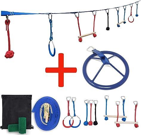 Patioline Backyard Slackline Obstacle Course para niños Ninja ...