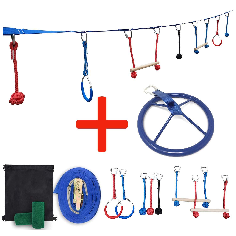 Patioline Backyard Slackline Obstacle Course for Kids Ninja Warrior Training Equipment Hanging Obstacles Kit - 2 Monkey Bars, 2 Gymnastics Rings, 3 Knot Fists,Wheels