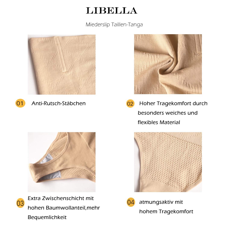 2er Pack Libella Damen Taillenslip Miederstring Miederslip mit Anti-Rutsch-St/äbchen Po Push Up Shapewear 3622 Schwarz+Haut XS//S