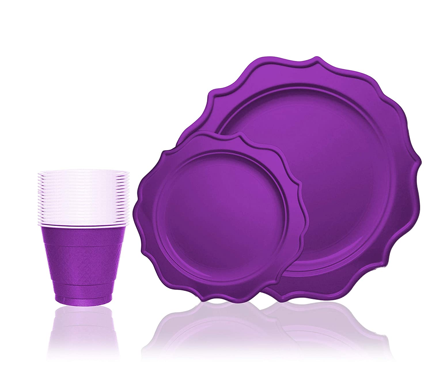 Tiger Chef 288-Pack Purple Color Scalloped Rim Disposable Party Supplies Set for 96 Guests, includes 96 10-Inch Dinner Plates, 96 8-Inch Plastic Plates and 96 9-Ounce Cups - BPA-Free