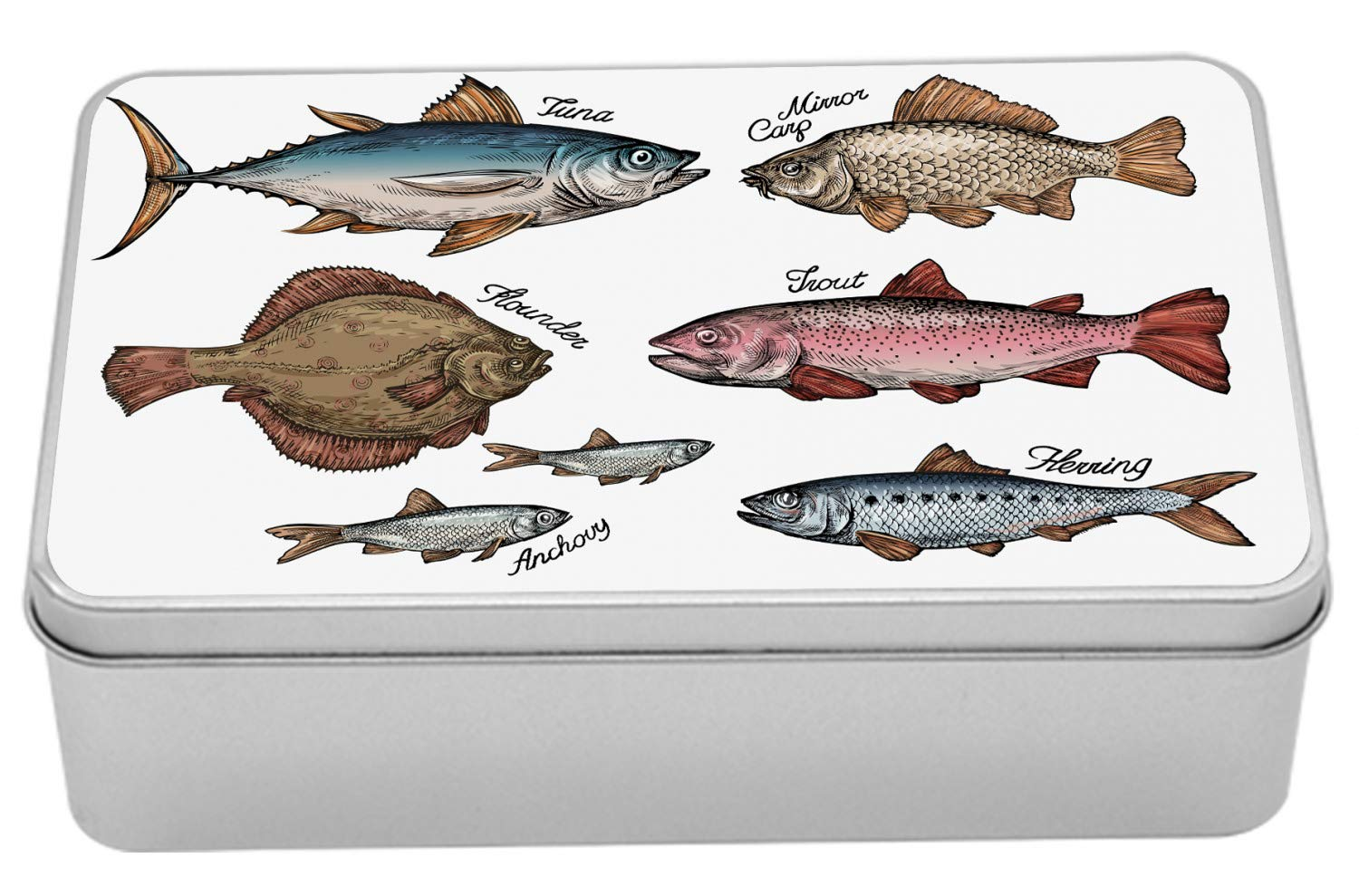 Lunarable Fish Metal Box, Illustrated Fishes Such as Tuna Trout Carp Flounder Anchovy Herring Aquarium Animals, Multi-Purpose Rectangular Tin Box Container with Lid, 7.2'' X 4.7'' X 2.2'', Multicolor