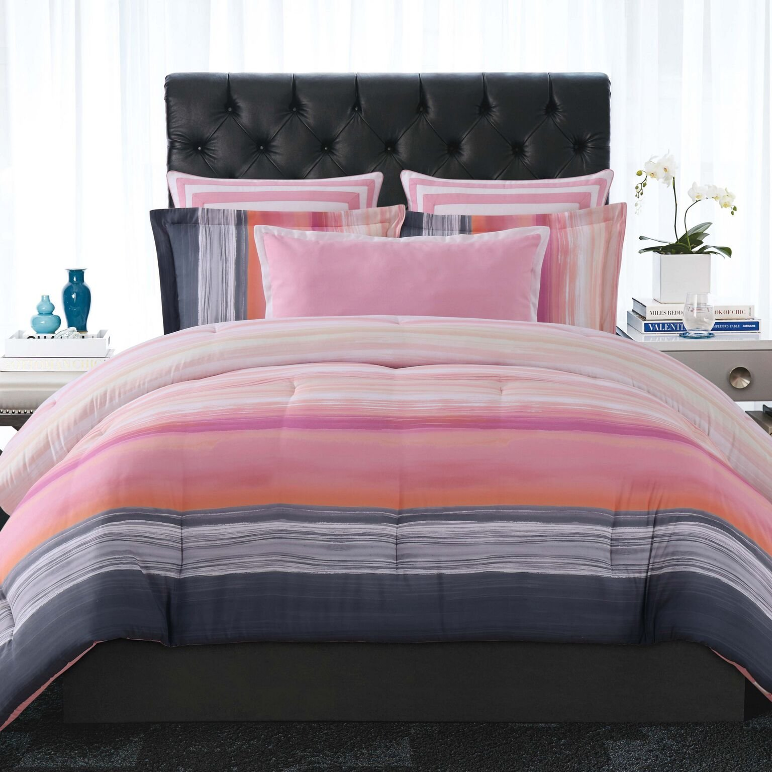 Christian Siriano Comforter Sunset Stripe, King, Pink, Orange and Grey