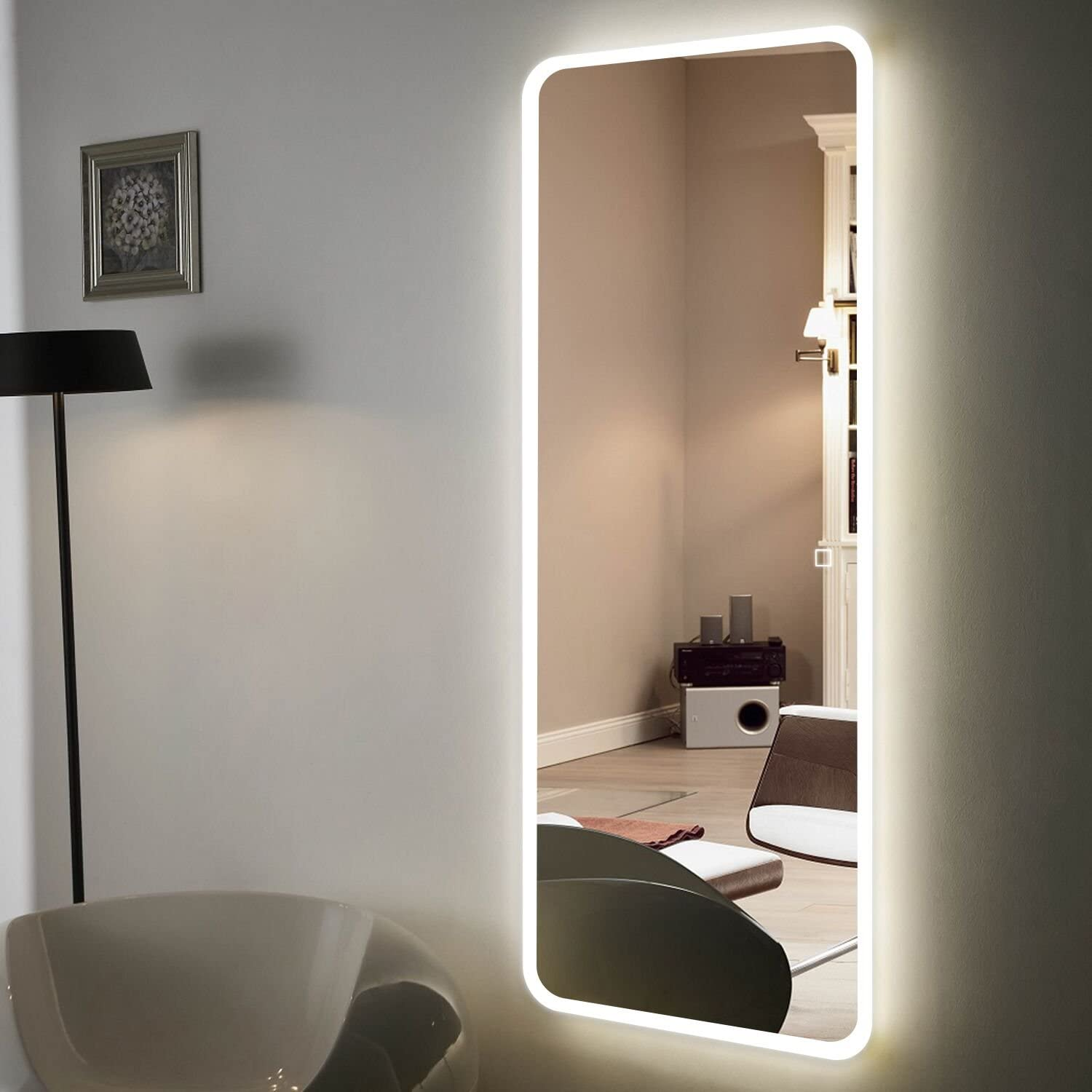 "H&A 10""x10"" Full Length Mirror Bedroom Floor Mirror Standing or Hanging  (Led Border-10 x10)"