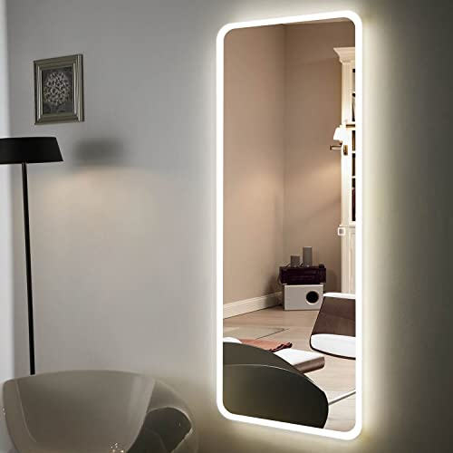 H A 65″x22″ Full Length Mirror Bedroom Floor Mirror Standing or Hanging Led Border-65 x22