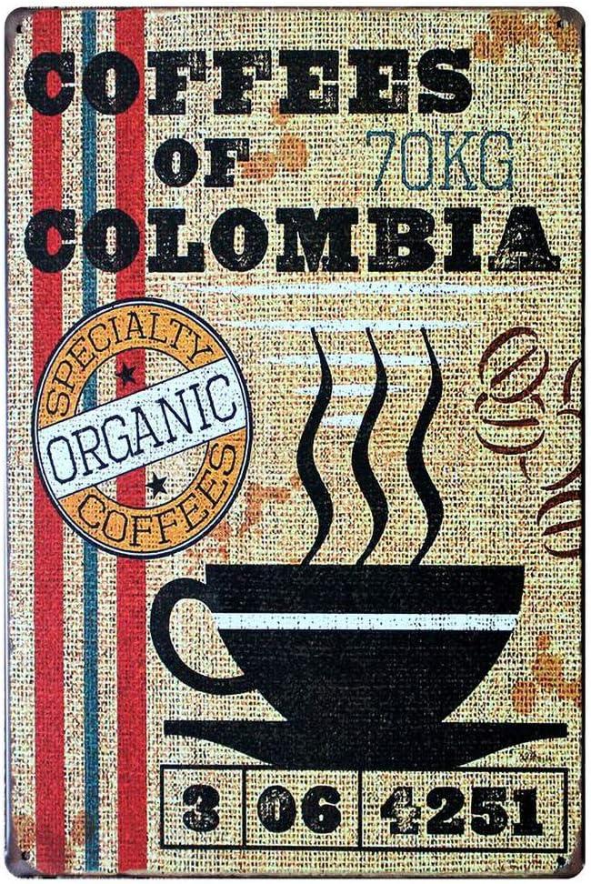 YDFOR Coffees of Colombia Hierro Cartel Pintura Cartel de Chapa Decoración Vintage para Hogar,Oficina,Hotel,Comedor,Bar: Amazon.es: Hogar
