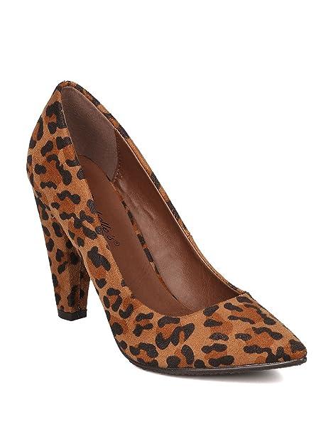 72de3d9f7b9 Breckelles Women Faux Suede Leopard Pointy Toe Cone Heel Pump GE98 ...