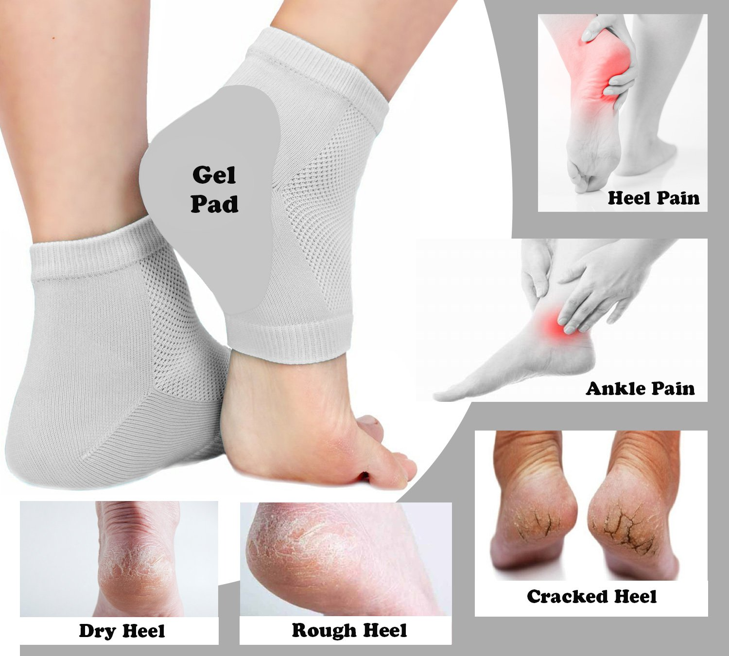 IZZORI Silicone Gel Heel Socks for Dry Hard Cracked Heel Repair Pad,  Swelling & Pain Relief, Cushion Support, Foot Care, Ankle Protection,  Plantar