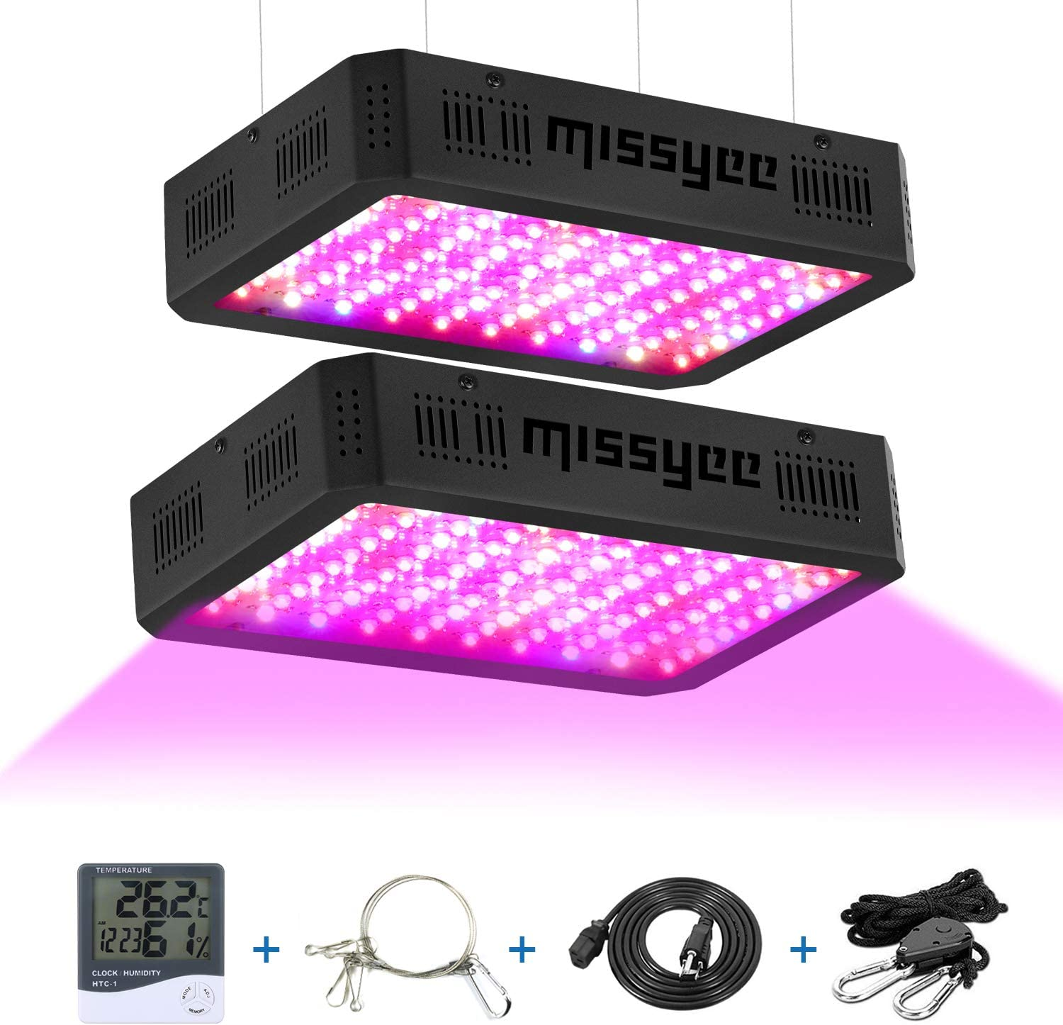 1000W LED Grow Light, Missyee 2-Pack Full Spectrum Plant Light with UV IR, Veg and Bloom Dual Switch for Greenhouse Indoor Plants Veg Flower, Thermometer Humidity Monitor Adjustable Rope, Black