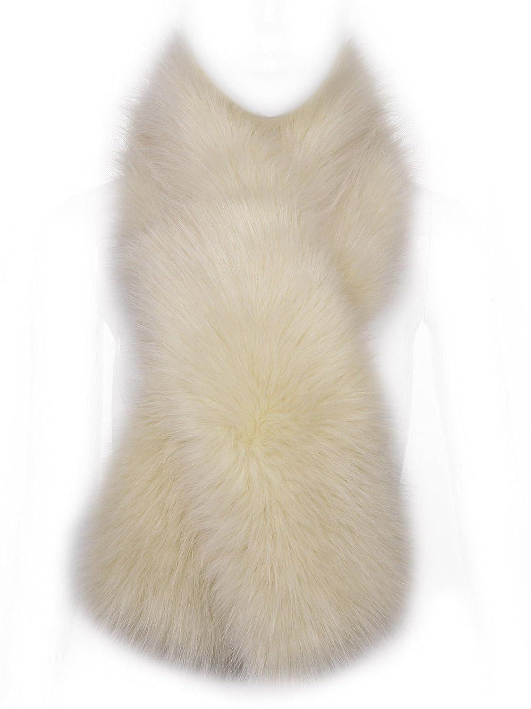 Futrzane Winter Straight Scarf Wrap Faux Fake Fur Collar Shawl Shrug Fluffy Collors Steel