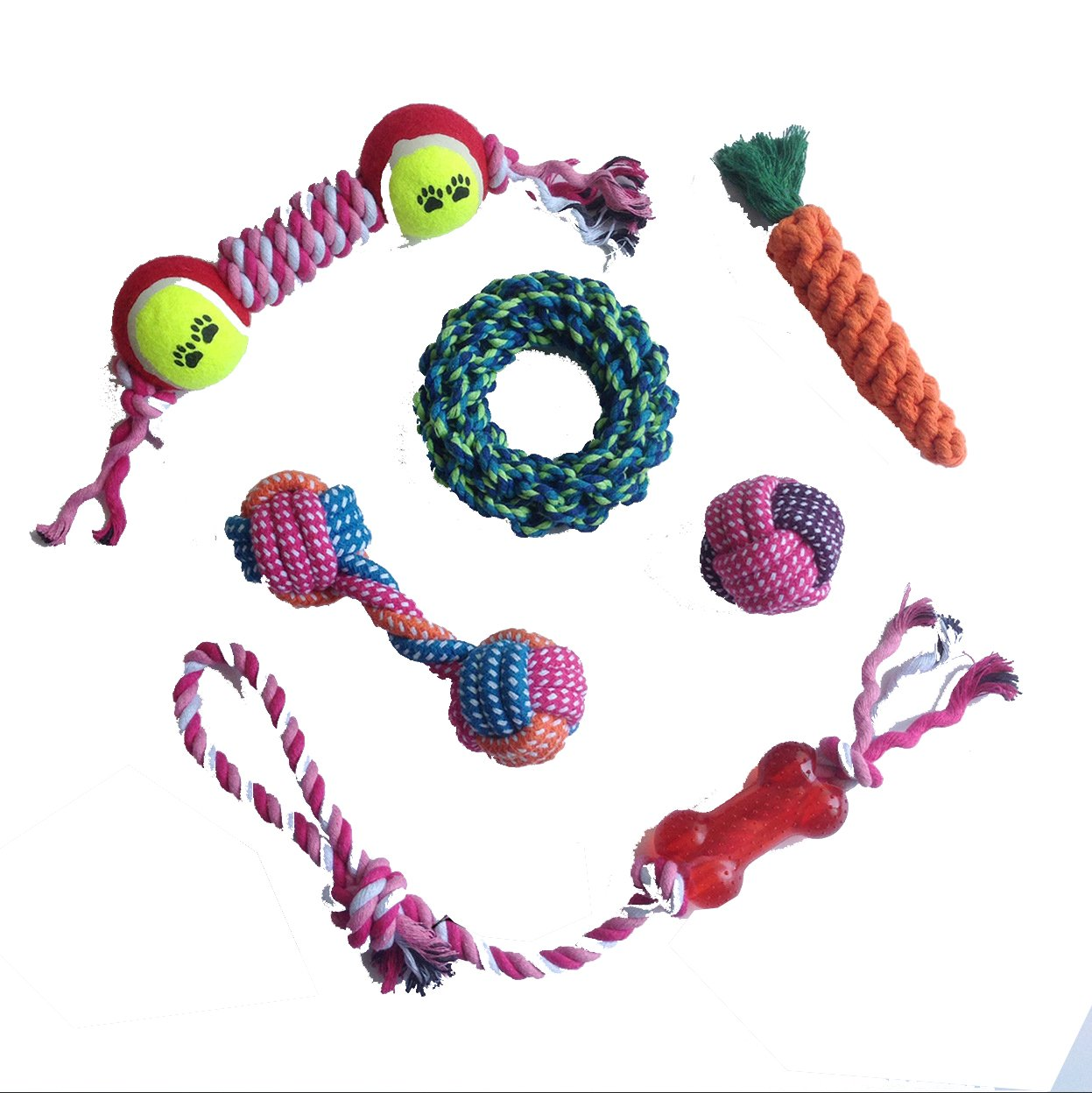 Pety Pet Dog Toys 6 Pack Gift Set, Variety Pet Dogs Toy Set for Medium to Small Doggie (Style D) by Pety Pet