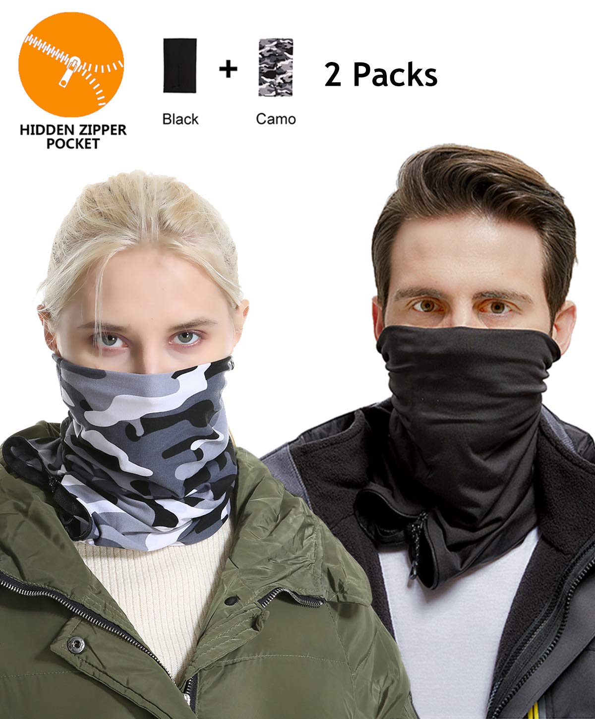 Lightweight Neck Gaiter Warmer Mask - Black Camo Women Men Kids Conversible Infinity hidden zipper pocket scarf Thermal Cycling Running Bandana Cold Wind, Dirt Outdoor Sport