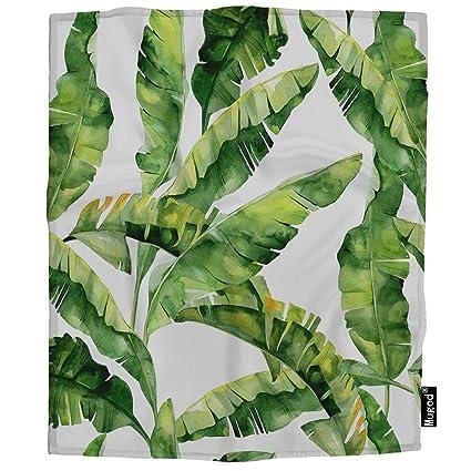 fef88eab77d64 Amazon.com: Mugod Banana Palm Leaves Blanket Summertime Tropical ...