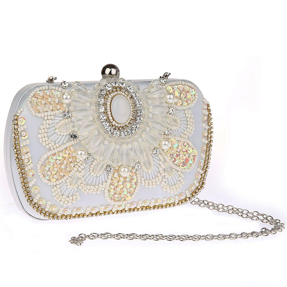 51516cb03e08e KAXIDY Damen Schultertasche Abendtasche Blumen Sequin Clutches Handtasche  (Beige)  Amazon.de  Schuhe   Handtaschen