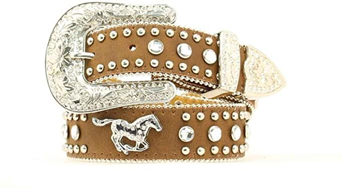Tan Leather and Rhinestone Belt for Girls Who Love Horses