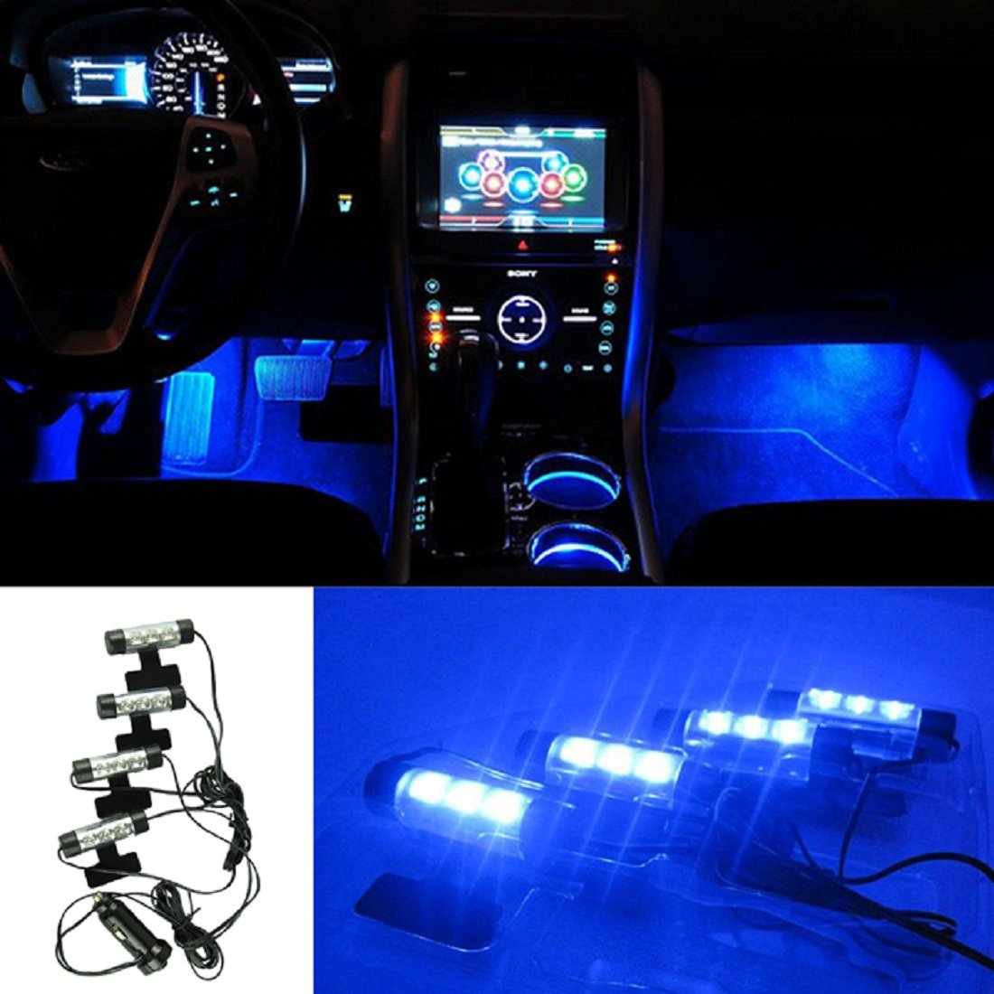 TONSEE 4x 3LED Car Charge 12V Glow Interior Decorative 4in1 Atmosphere Blue Light Lamp TONSEE_A7266