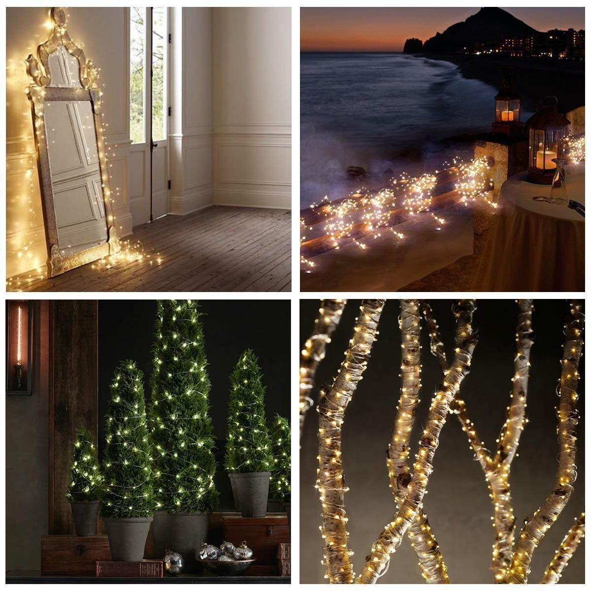 OrgMemory Copper LED Fairy Lights, (80 Ft/24M, 240 Leds, Warm White, CE  Certified Power Adapter), ...
