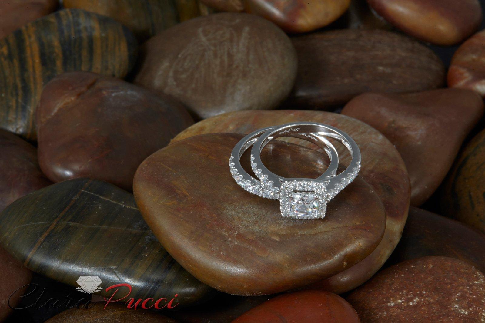 Clara Pucci 1.60 CT Princess Cut CZ Pave Halo Bridal Engagement Wedding Ring Band Set 14k White Gold, Size 8.5 by Clara Pucci (Image #7)